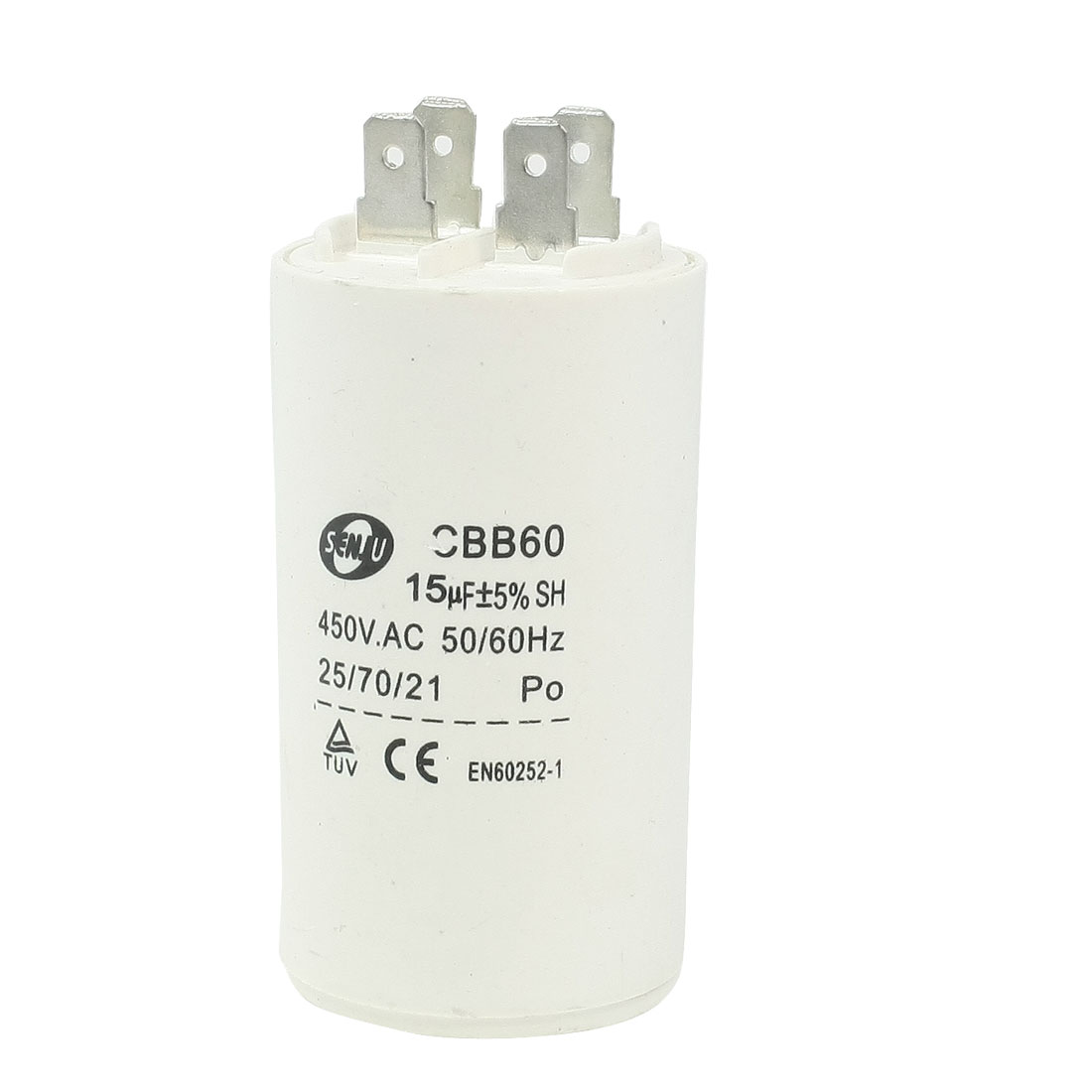 Household Washers Non Polar Motor Capacitor White 15UF 450VAC CBB60