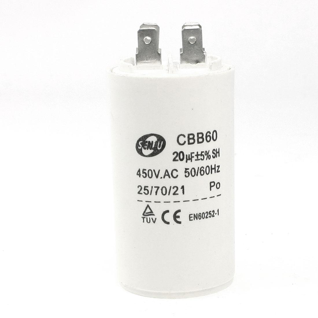 AC 450V 20uF 50/60Hz Washing Machine CBB60 Nonpolar Motor Running Capacitor