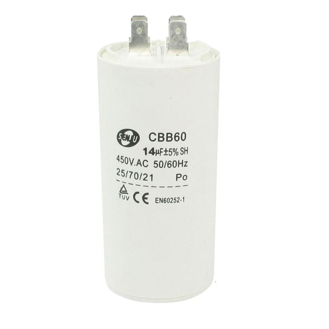 Household Washers Non Polar Motor Capacitor White 14UF 450VAC CBB60
