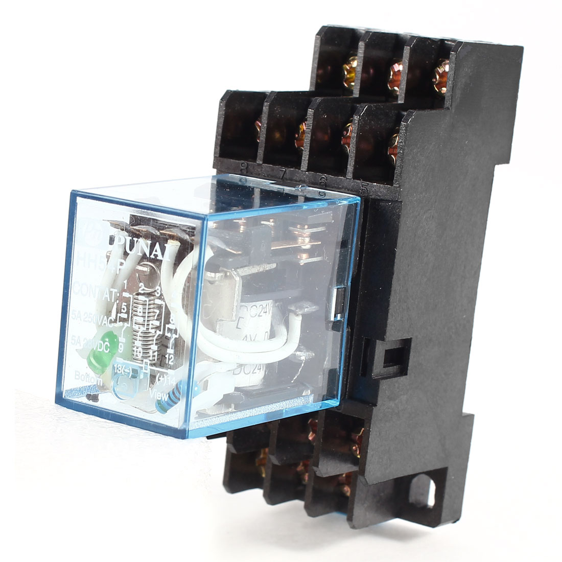 5A 240VAC/28VDC 24V DC Coil Power Relay 14-Pin 4PDT HH54P w Socket