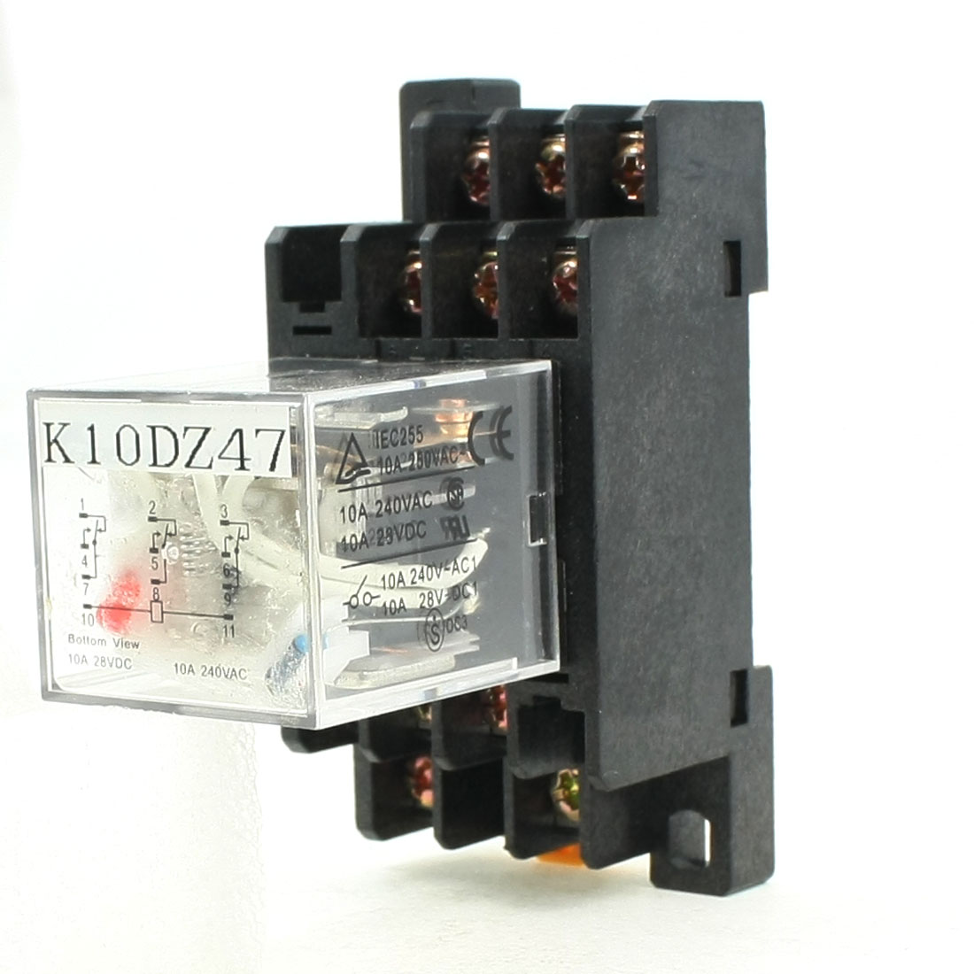 AC220V Coil 3PDT Electromagnetic Power Relay AC220V 5A 250VAC/28VDC w Base