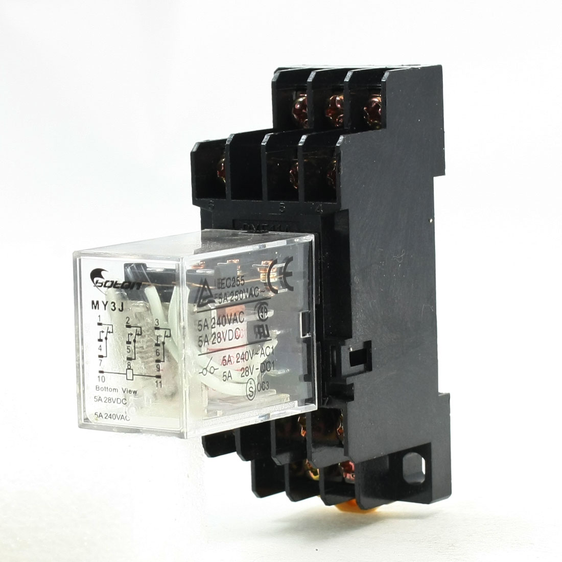 AC 100V Coil 3PDT 11 Pins Electromagnetic Power Relay 5A 250VAC/28VDC w Base