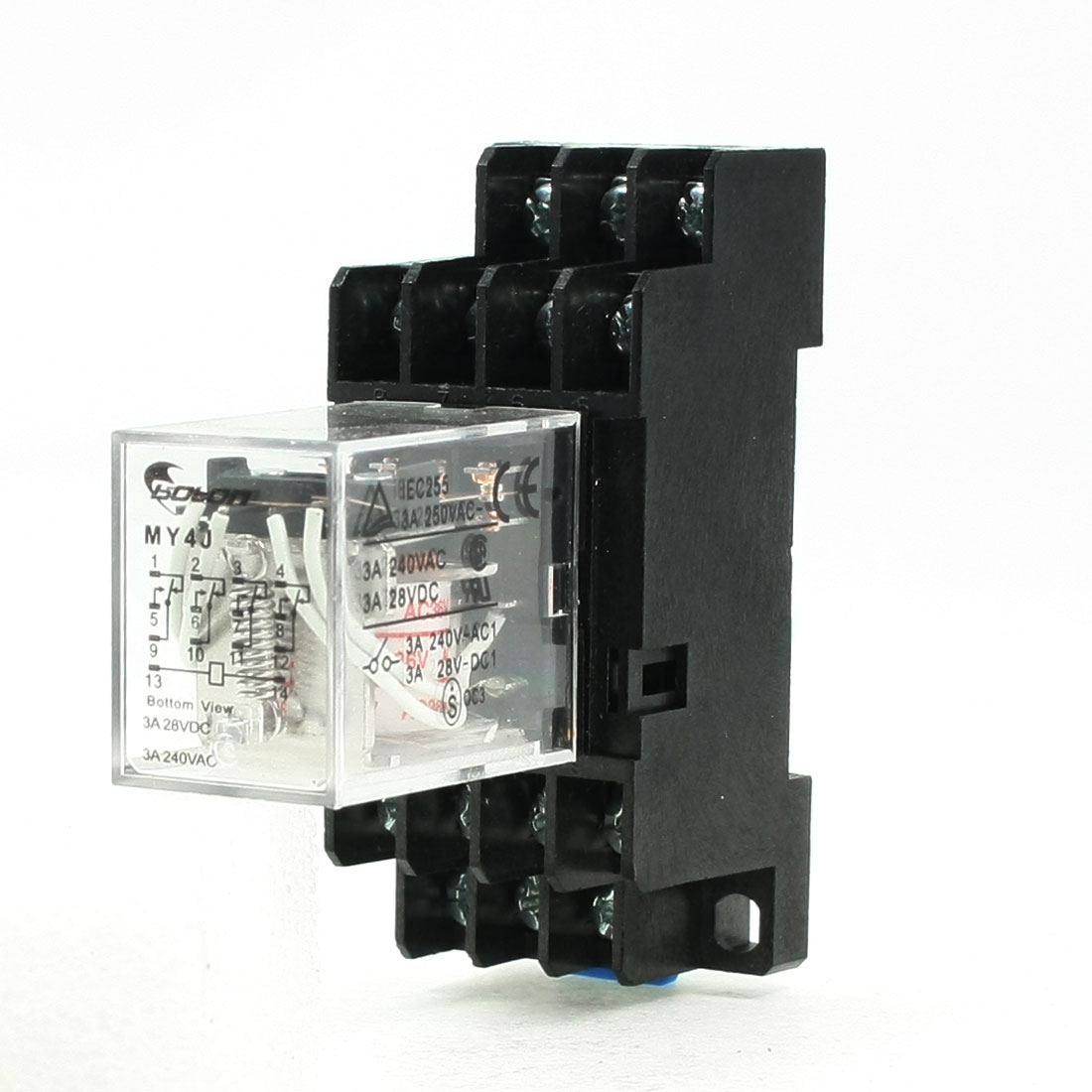 MY4J AC36V Coil 5A 240V AC 28V DC 35mm DIN Rail Power Relay 14 Pin 4PDT w Socket