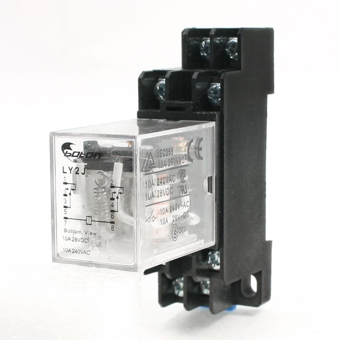 AC 110V Coil 8 Pin DIN Rail Electromagnetic Power Relay 8 Pin 10A LY2J w Base