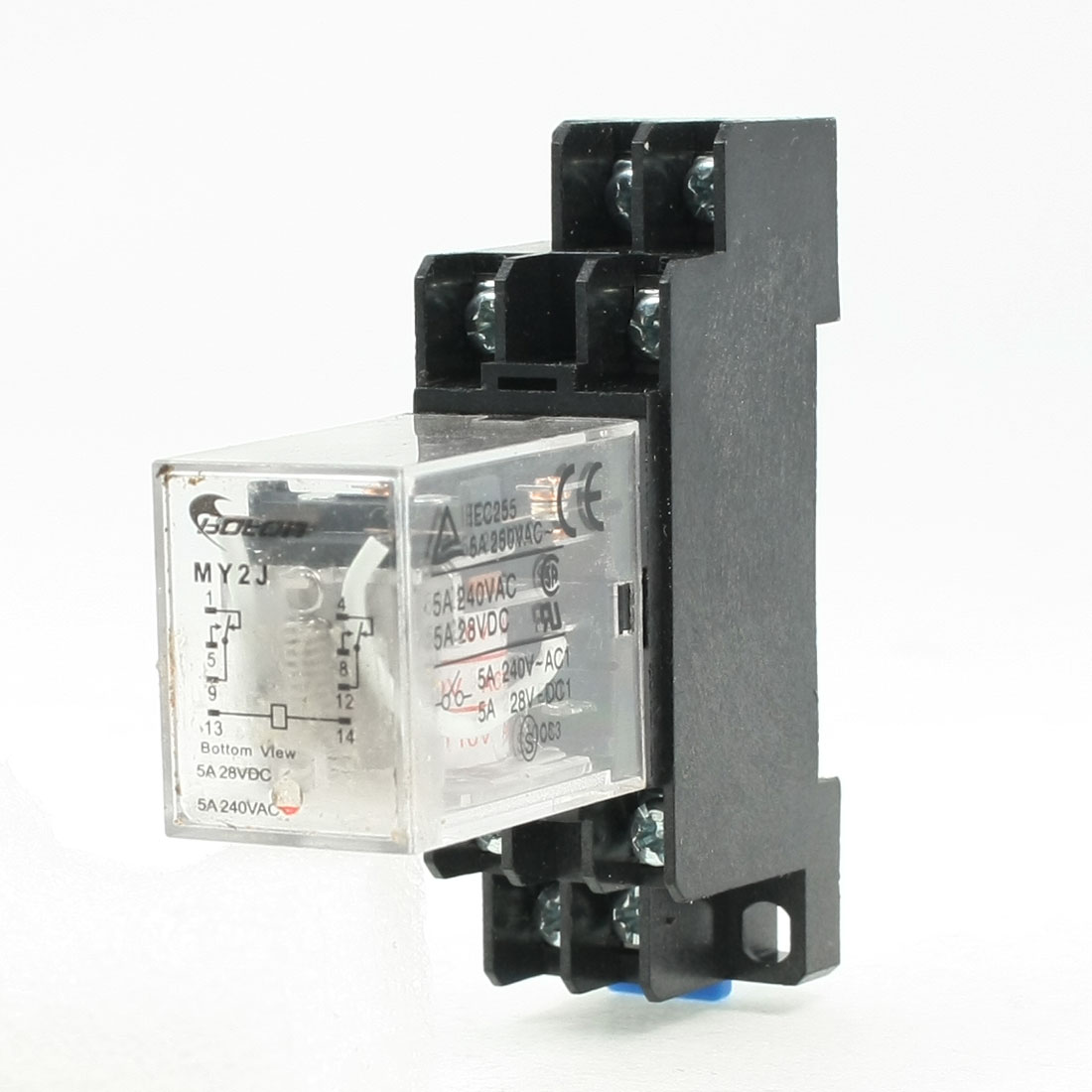 MY2J AC 110V Coil General Purpose Relay DPDT 8 Pin 5A 240VAC/28VDC w Socket Base