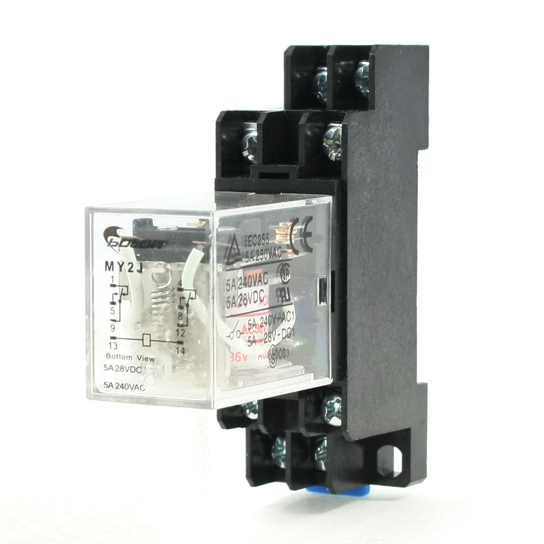 AC 36V Coil 8 Pin DIN Rail Electromagnetic Power Relay 8 Pin 5A MY2J w Base