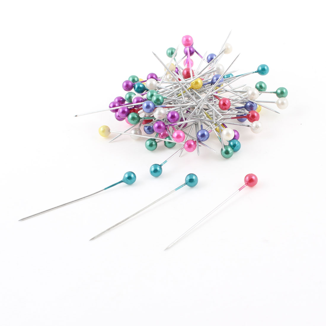 80 Pcs Assorted Color Decorative Faux Beads Straight Head Pins