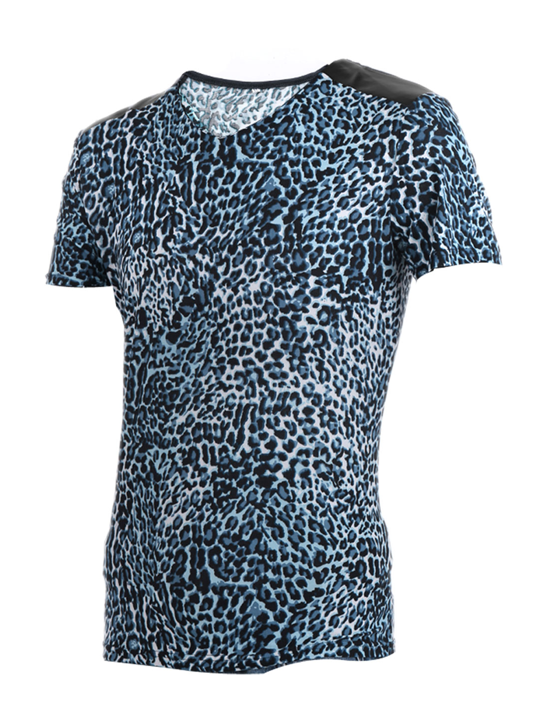 Men Blue Black Stylish Leopard Prints Stretch Slim Summer Tee Shirt L