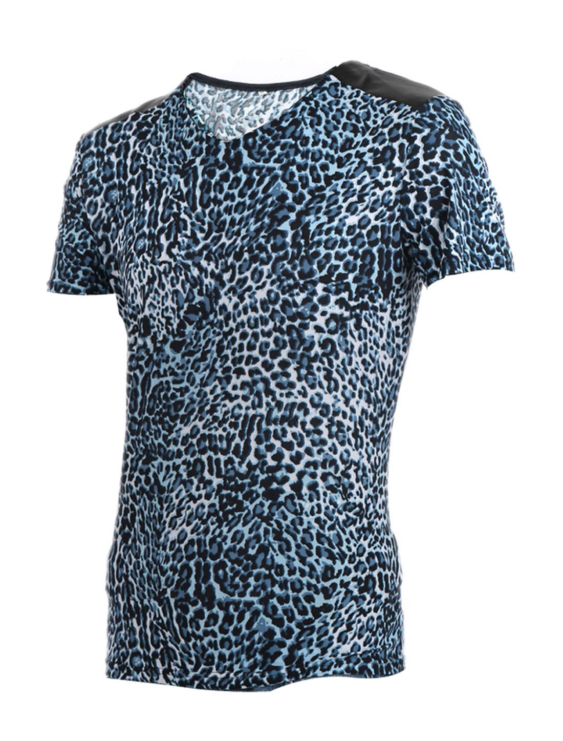 Men Blue Black V Neckline Short Sleeve Leopard Printed Summer Tee Shirt XL