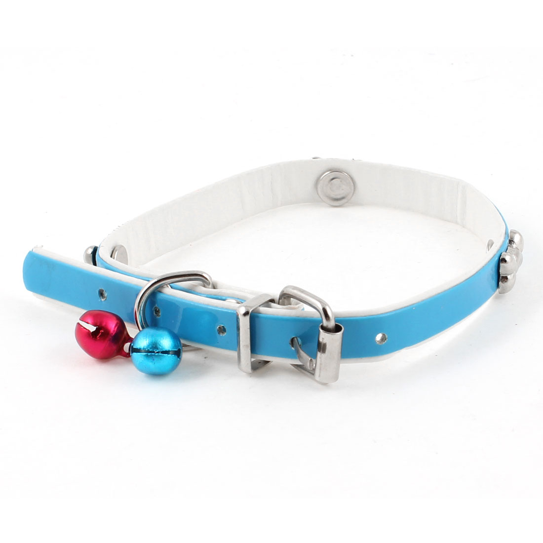 Faux Leather Adjustable Metal Jingle Bell Bone Detail Dog Cat Pet Collar Blue