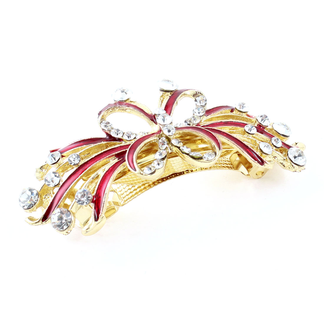 Lady Gold Tone Metal Red Butterfly Plastic Rhinestone Hair Clip Barrette