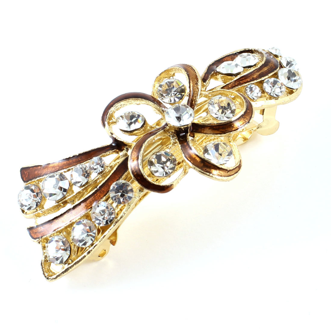 Women Girl Gold Tone Metal Brown Flower Plastic Rhinestone Hair Clip Barrette