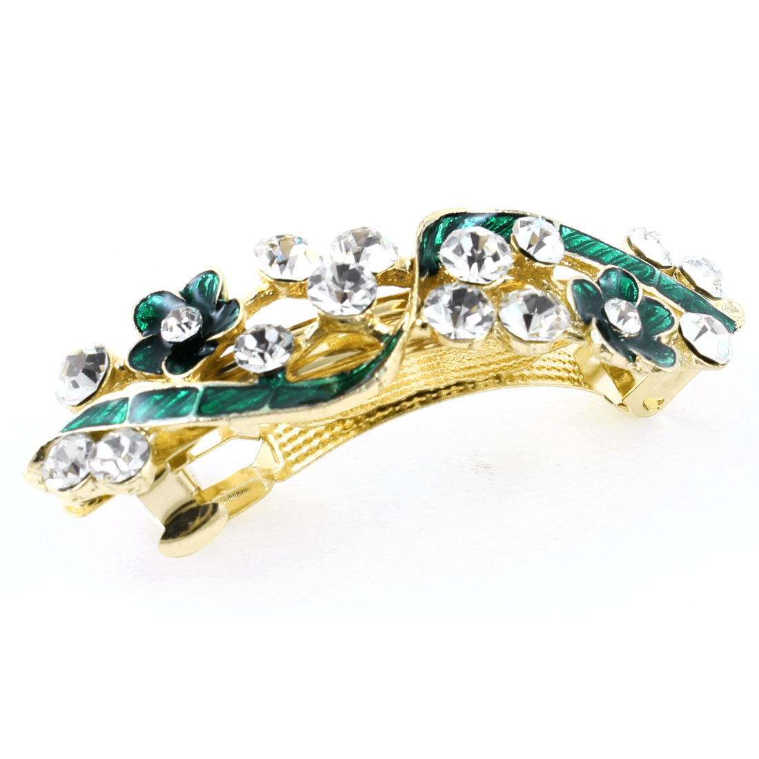 Woman Girl Green Flower Rhinestone Barrette French Hair Clip