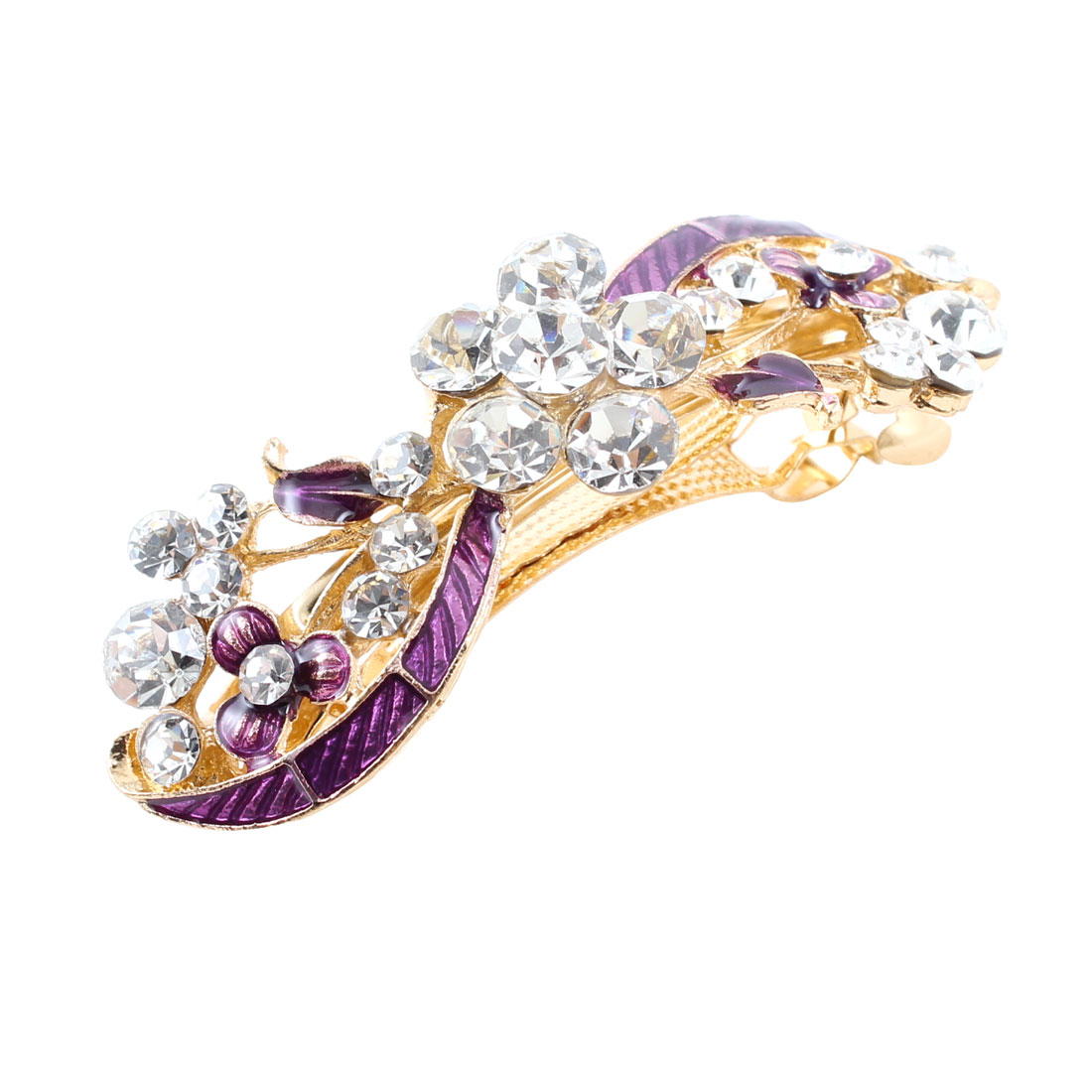 Lady Party Purple Bowknot Glittery Rhinestone Designed French Hair Clip
