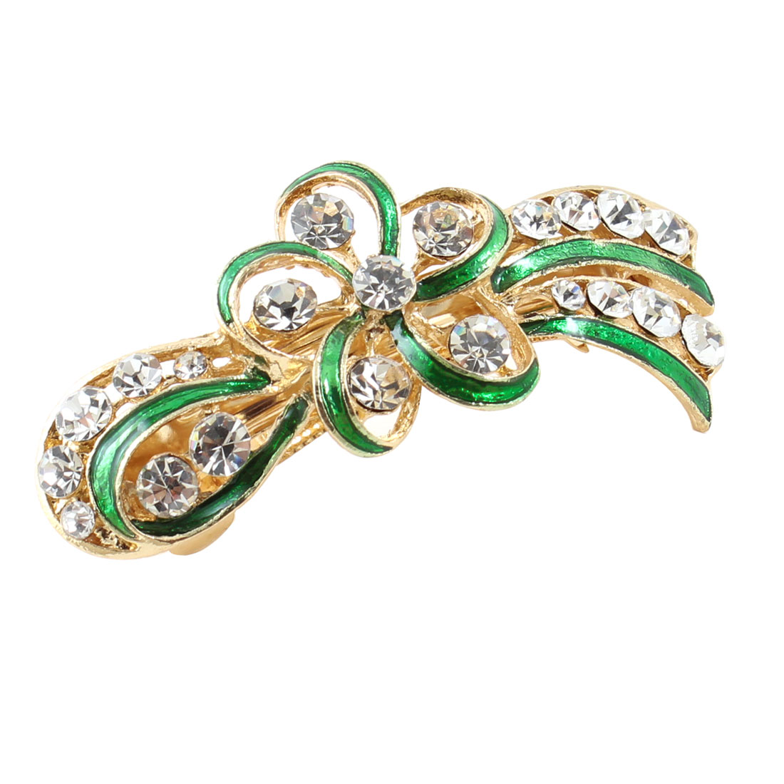 Lady Party Green Flower Design Rhinestone Barrette French Hair Clip