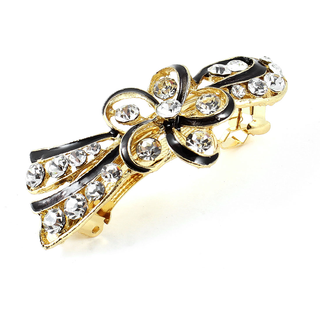 Woman Girl Plastic Rhinestone Gold Tone Metal Black Flower Hair Clip Barrette