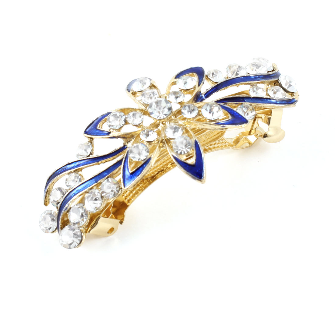 Woman Girl Blue Flower Faux Shiny Rhinestone Decor Barrette French Hair Clip