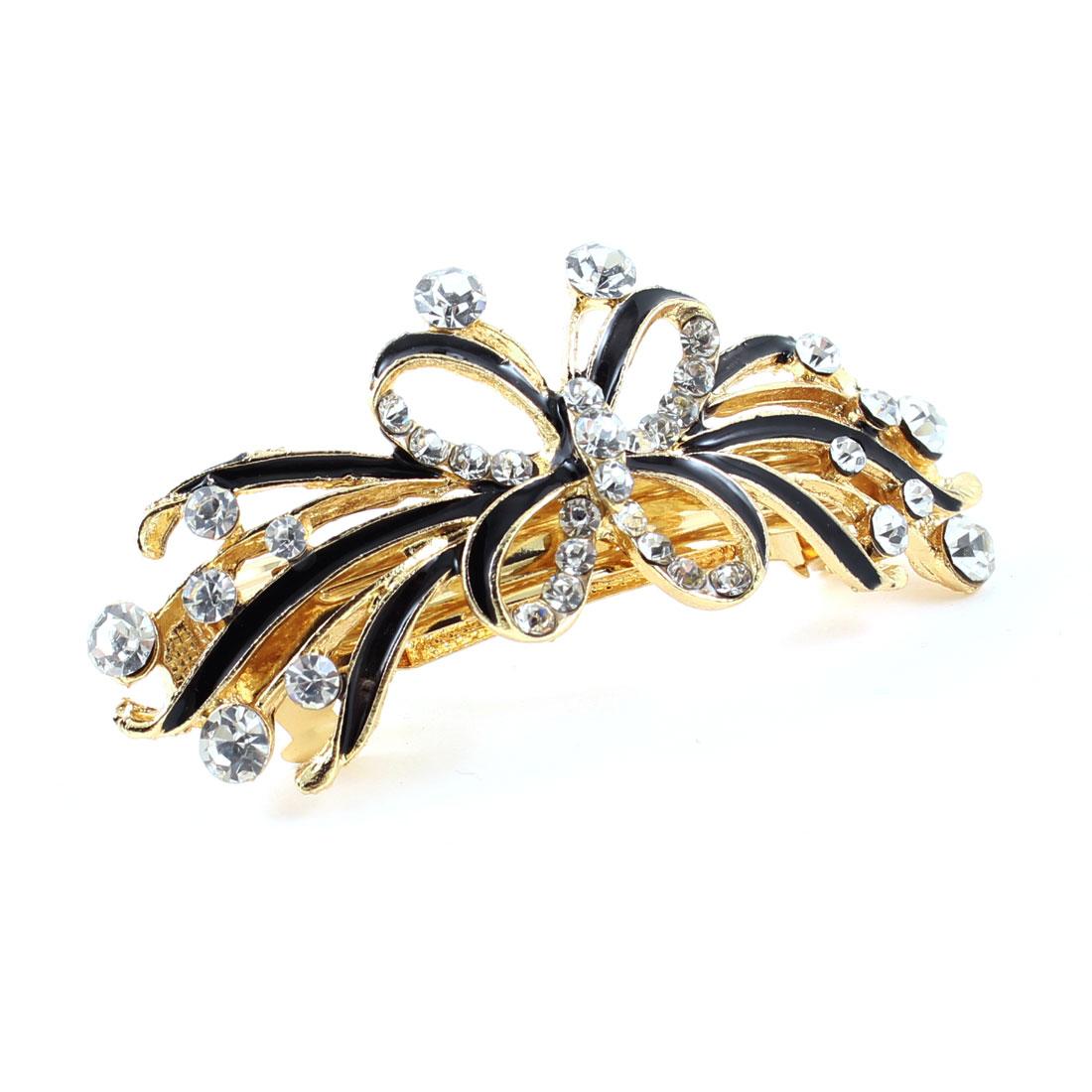 Black Butterfly Designed Rhinestone Inlaid Barrette French Hair Clip