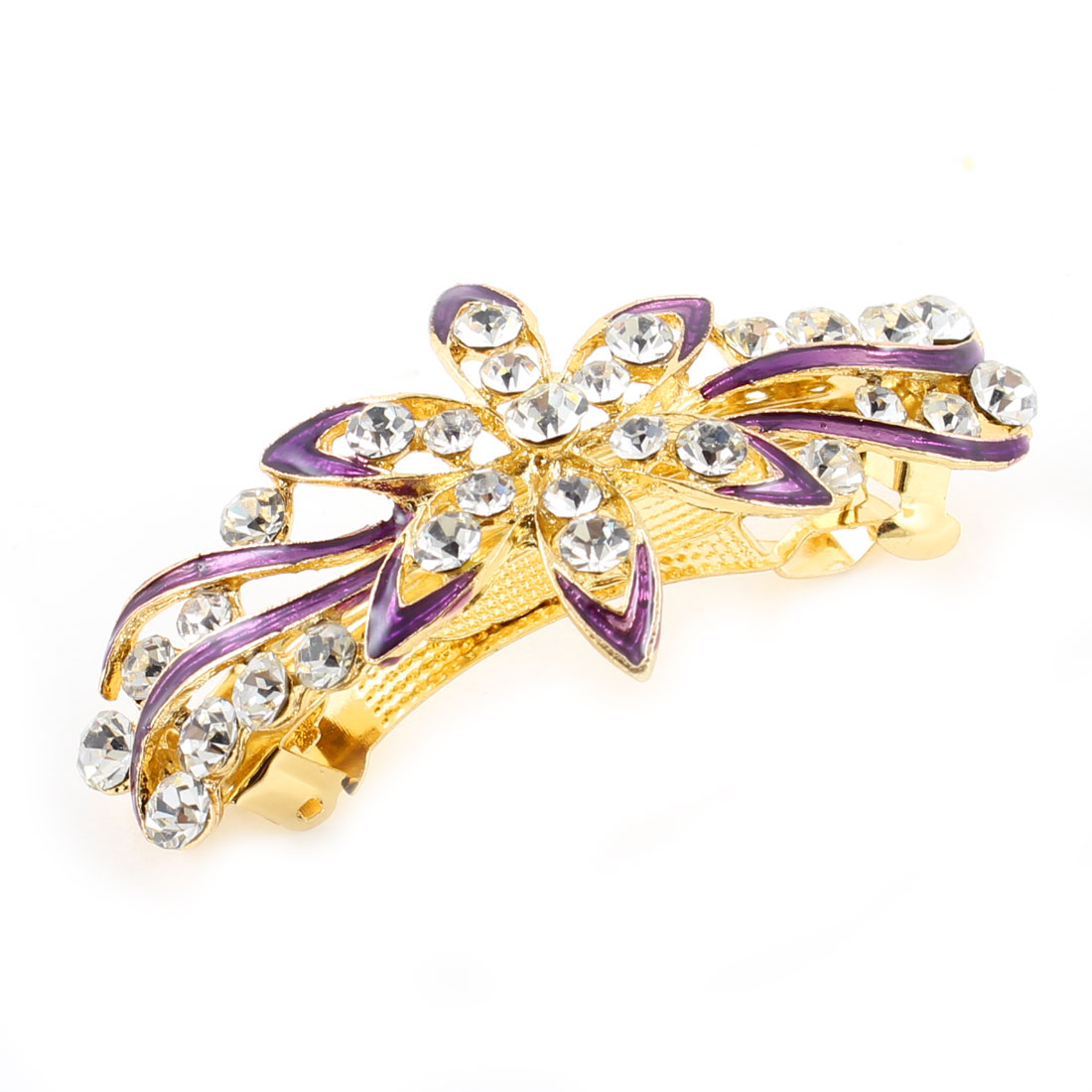 Woman Girl Party Purple Flower Design Shiny Rhinestone French Hair Clip Hairpin