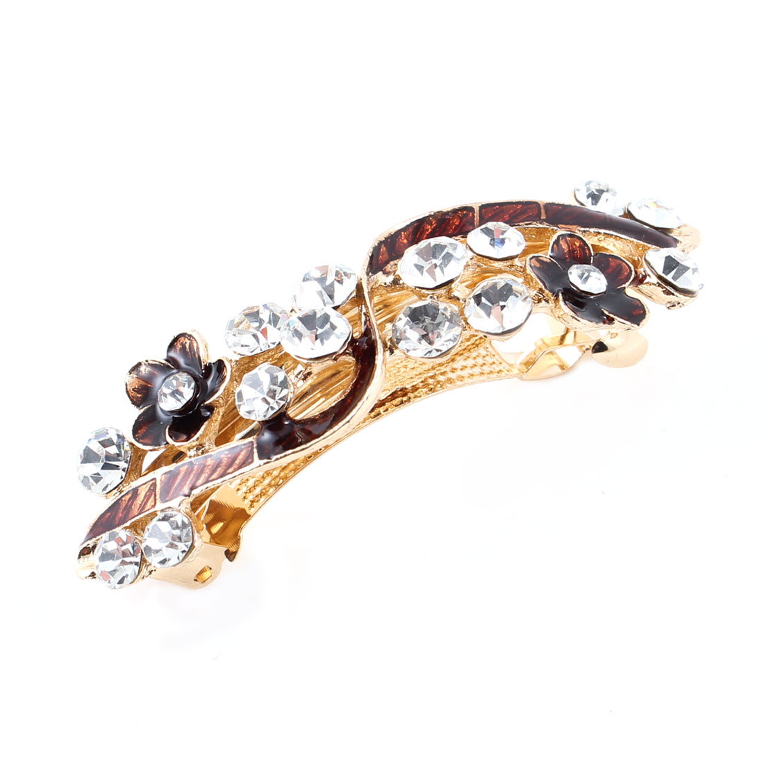 Woman Girl Brown Flower Design Shiny Plastic Rhinestone French Hair Clip
