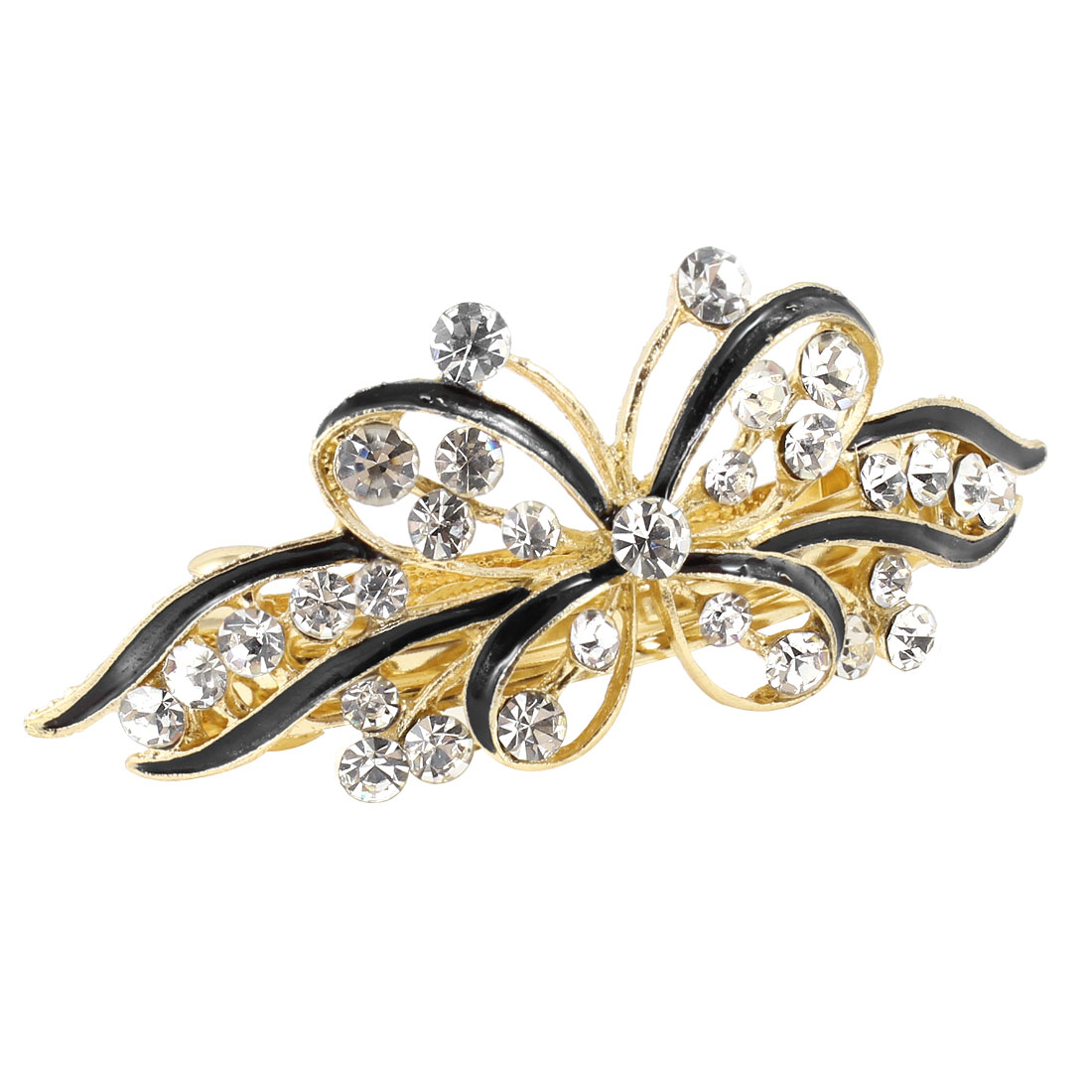 Woman Metal Butterfly Faux Rhinestone Inlaid Hair Clip Hairpin Barrette Styling