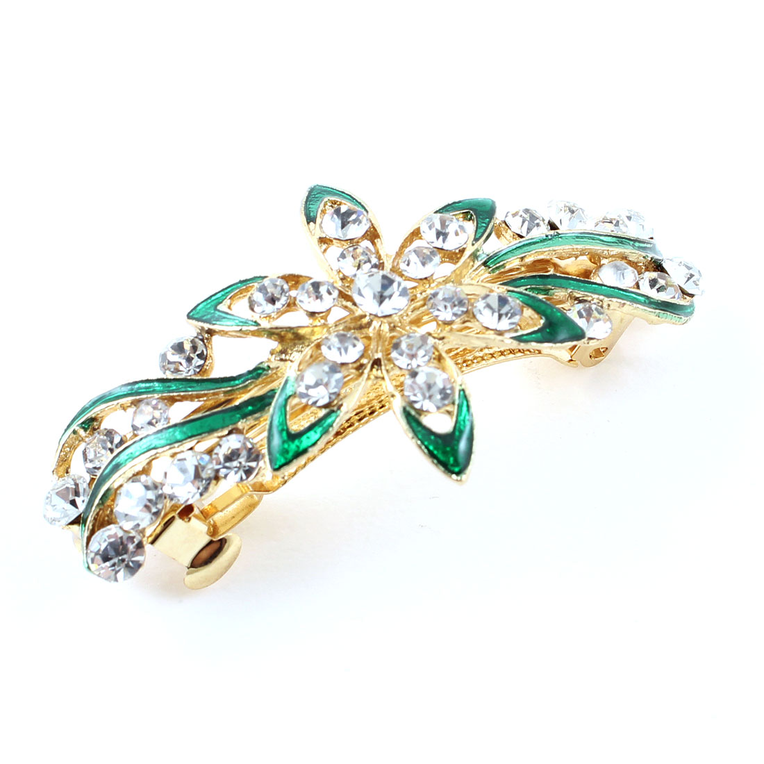 Lady Green Flower Design Rhinestone French Hair Clip Hairpin