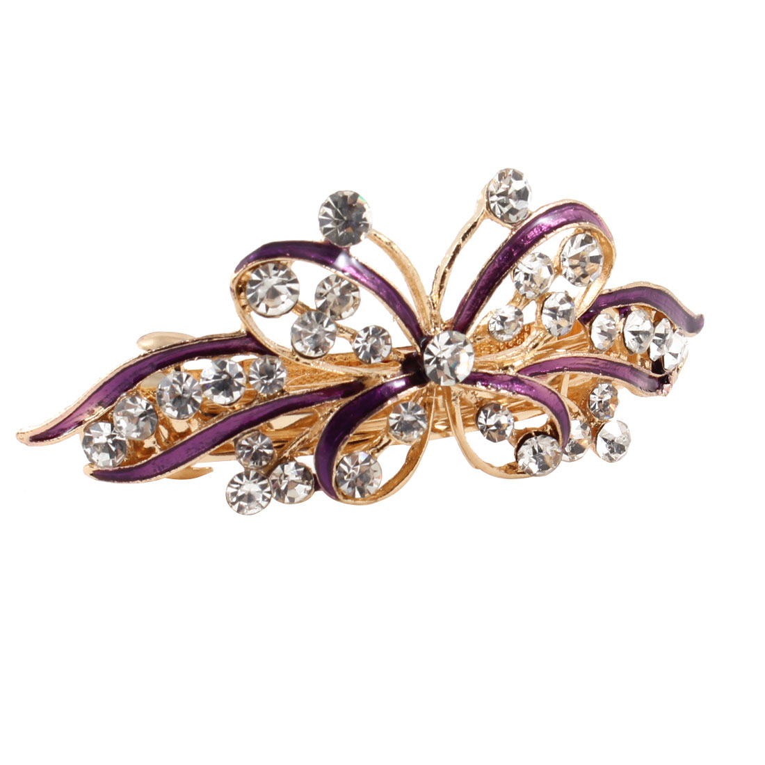 Woman Gold Tone Metal Purple Butterfly Plastic Rhinestone Hair Clip Barrette