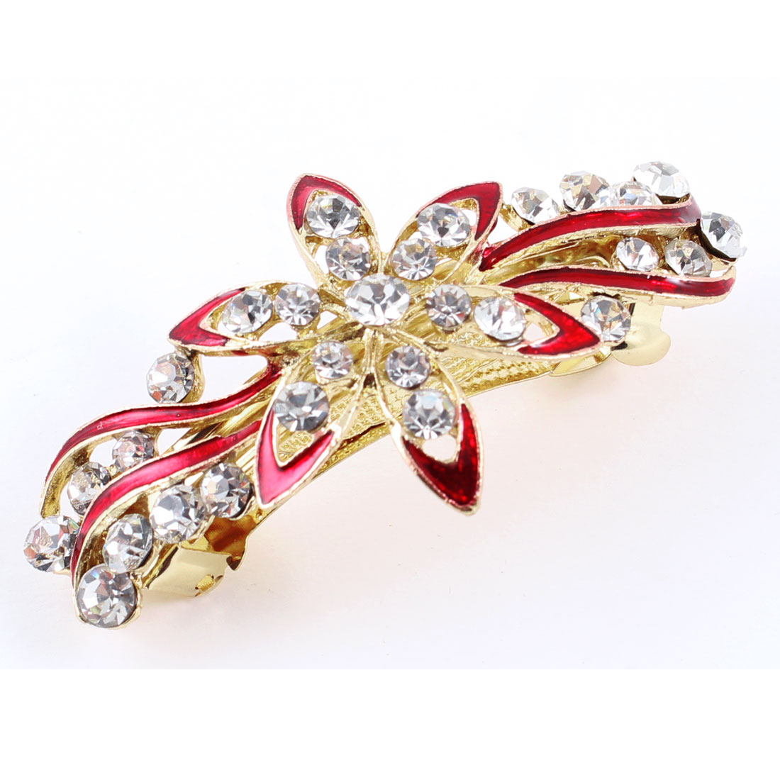 Woman Girl Red Flower Faux Rhinestone Inlaid Barrette French Hair Clip Hairpin
