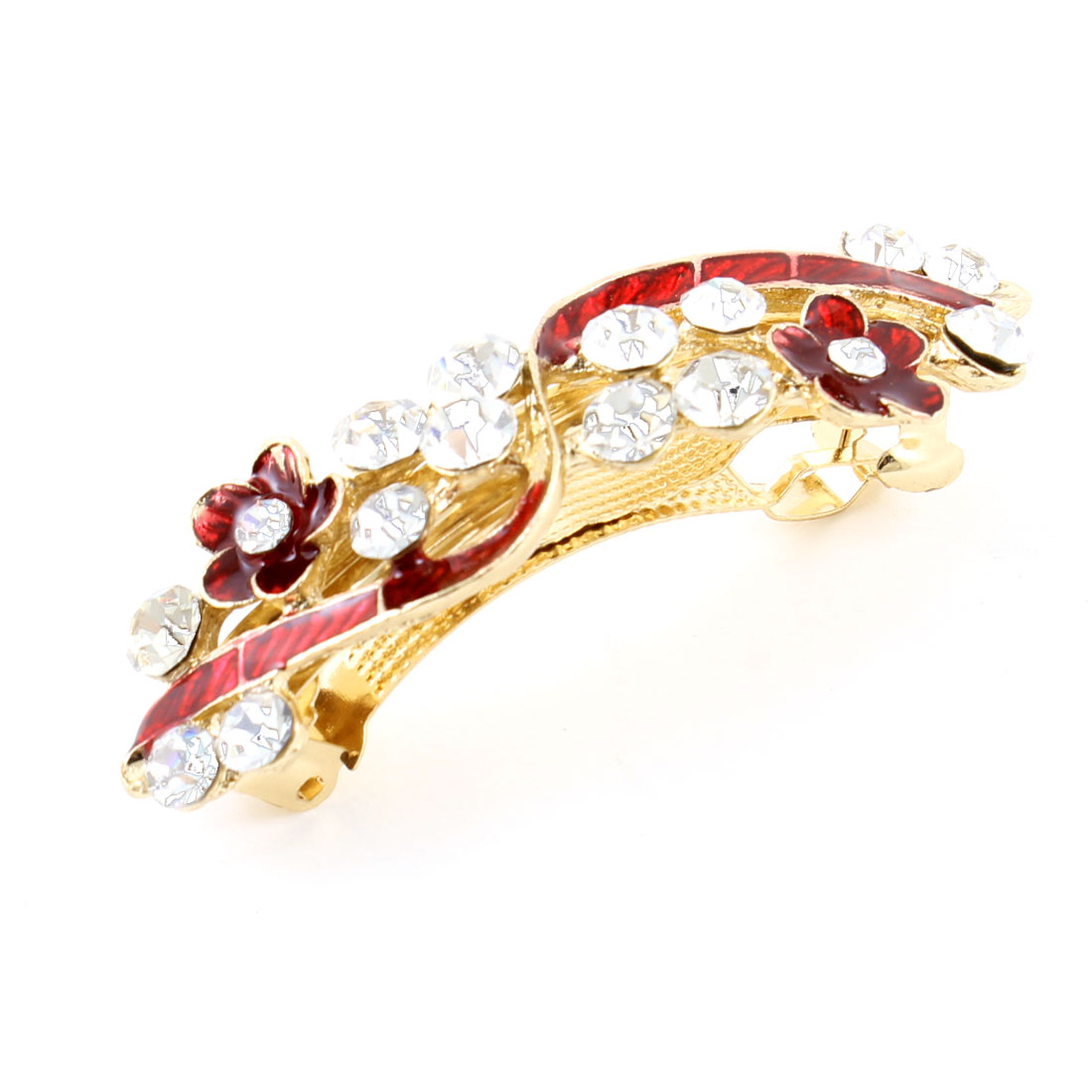 Woman Girl Red Flower Design Rhinestone Barrette French Hair Clip