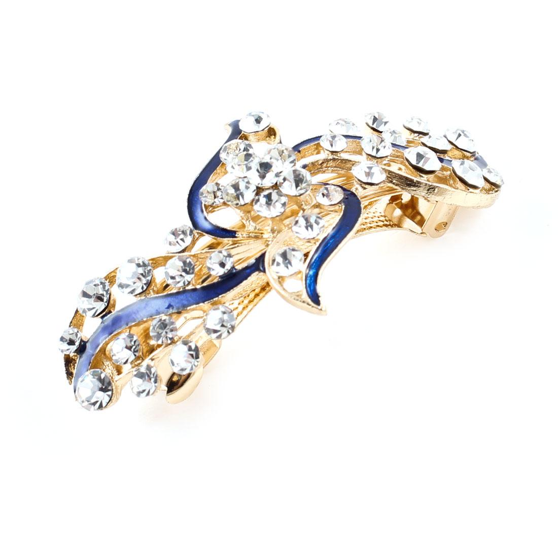 Lady Wedding Blue Flower Glittery Rhinestone Designed French Hair Clip