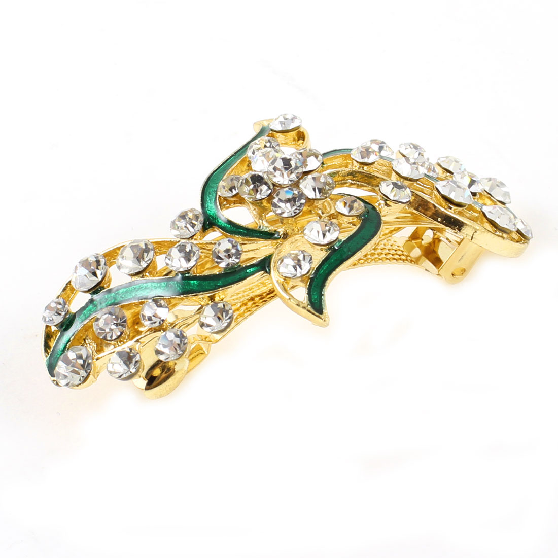Lady Party Green Flower Plastic Rhinestone Decor Barrette Hairpin Hairclips