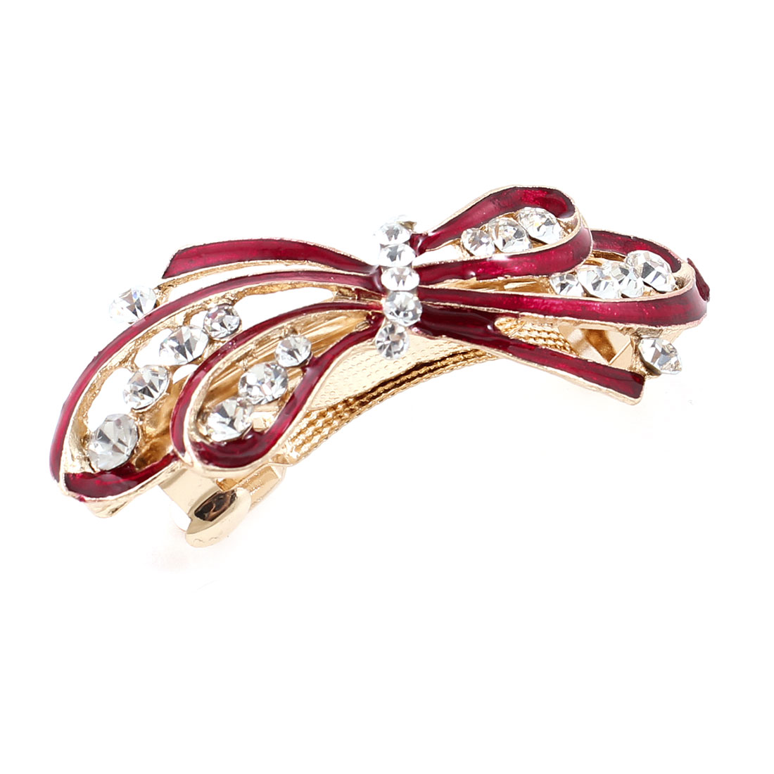 Lady Party Wedding Red Bowknot Rhinestone Designed French Hair Clip
