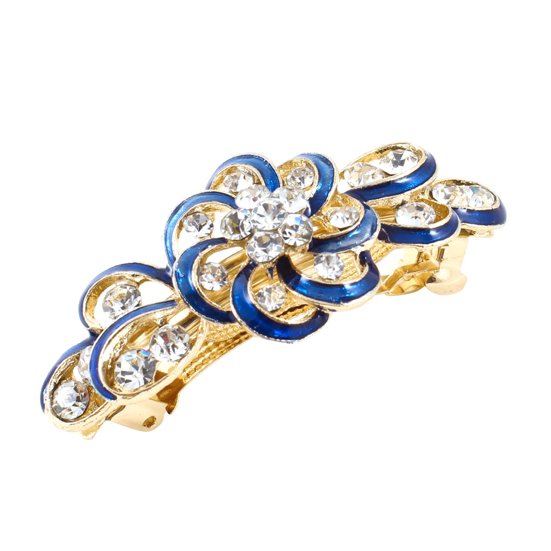 Woman Gold Tone Metal Blue Plastic Rhinestone Hairpin French Hair Clip Barrette