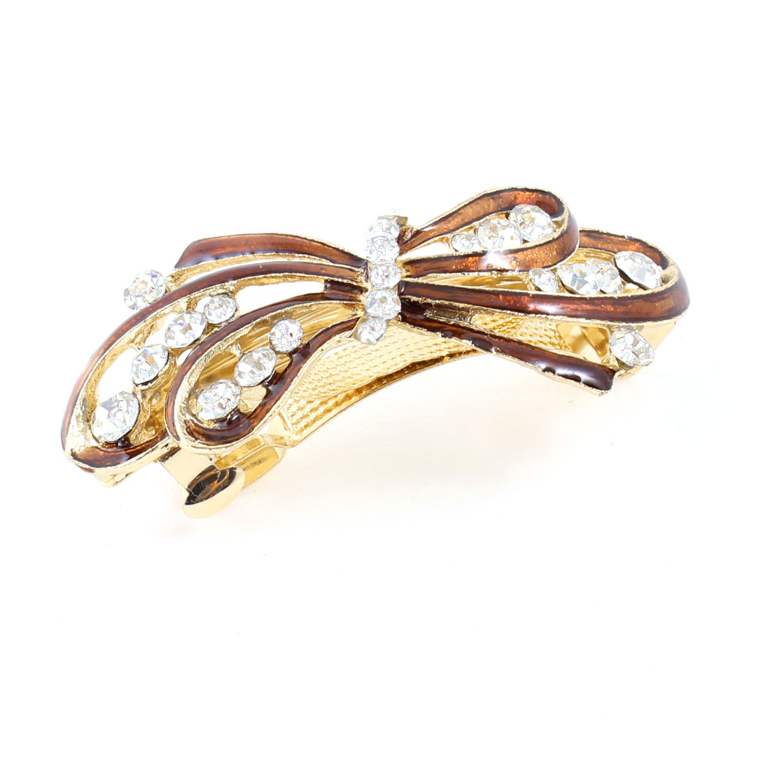Woman Girl Brown Bowknot Rhinestone Barrette Hairpin Hairclips