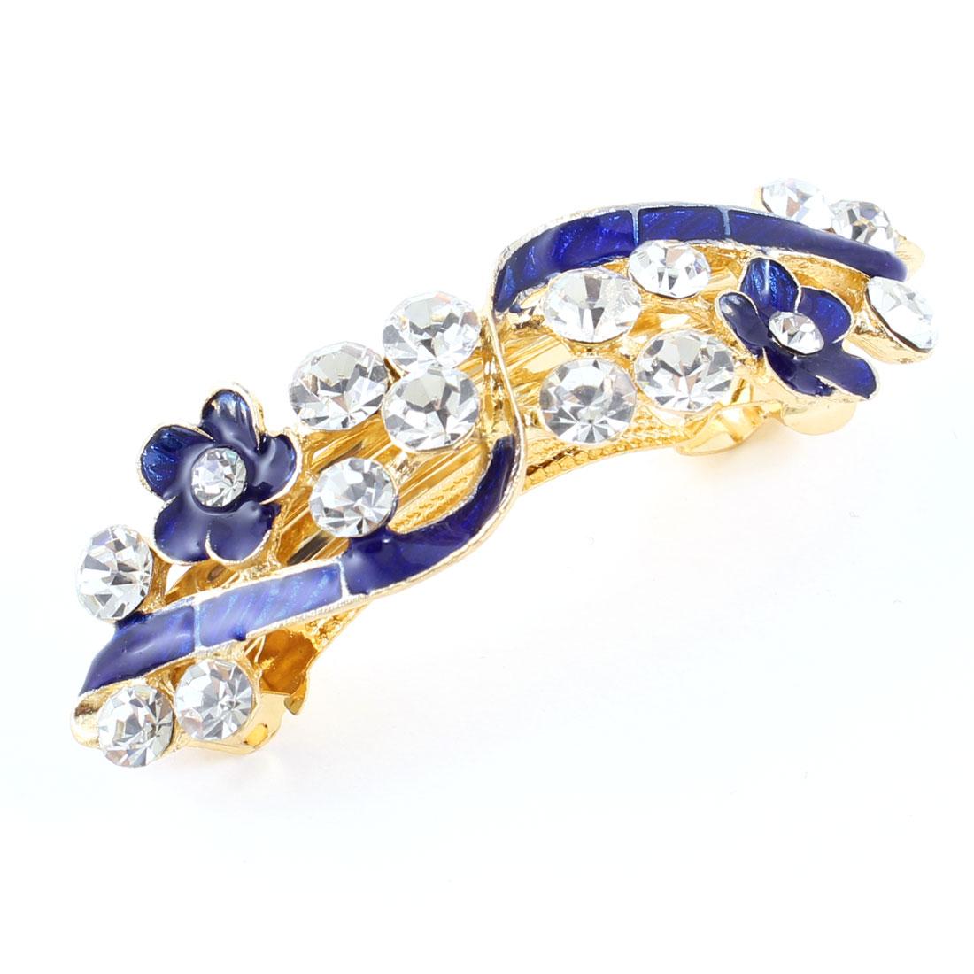 Lady Party Wedding Blue Flower Rhinestone Designed Barrette Hairclips