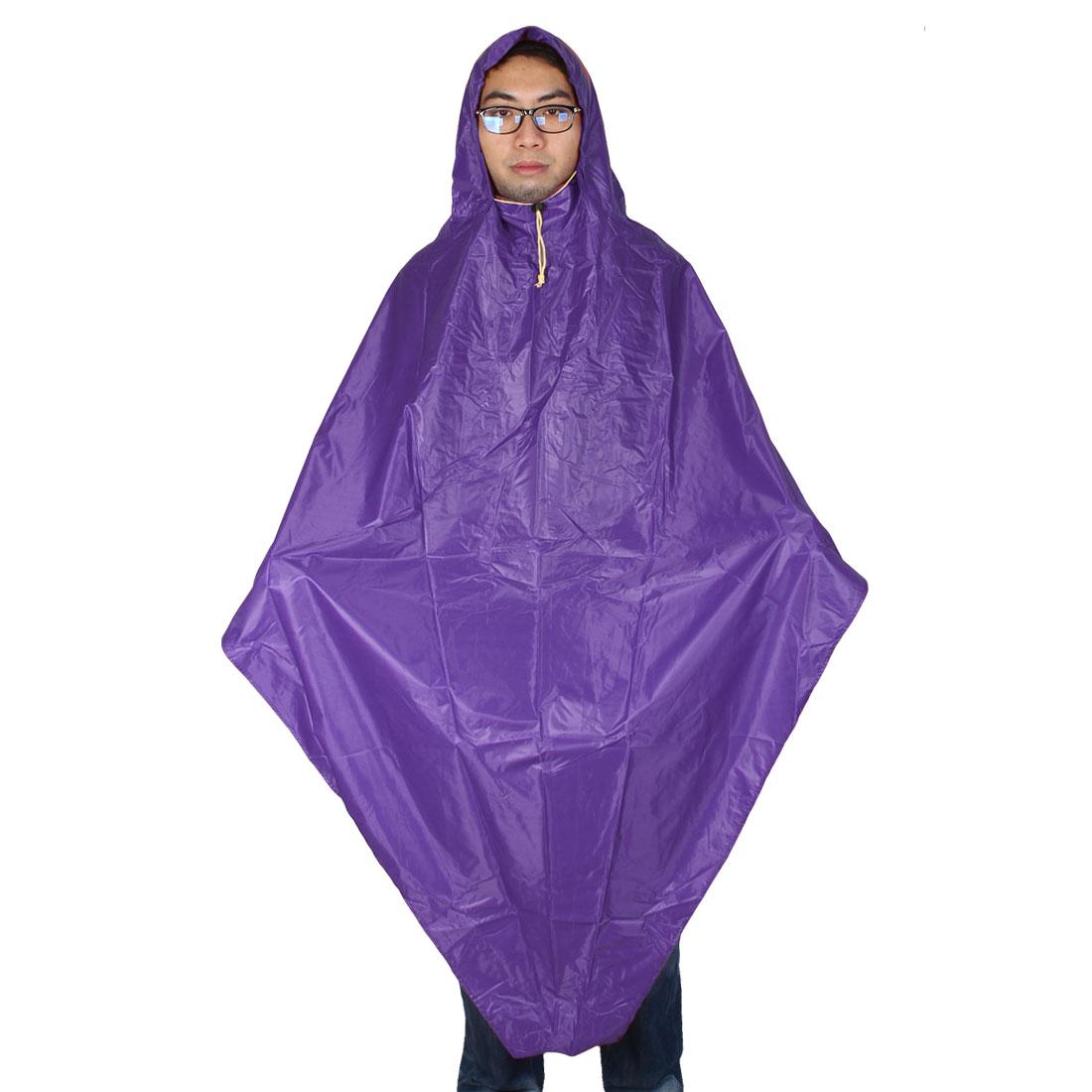 Lady Man Purple Cycling Bike Bicycle Plastic Hooded Raincoat Poncho