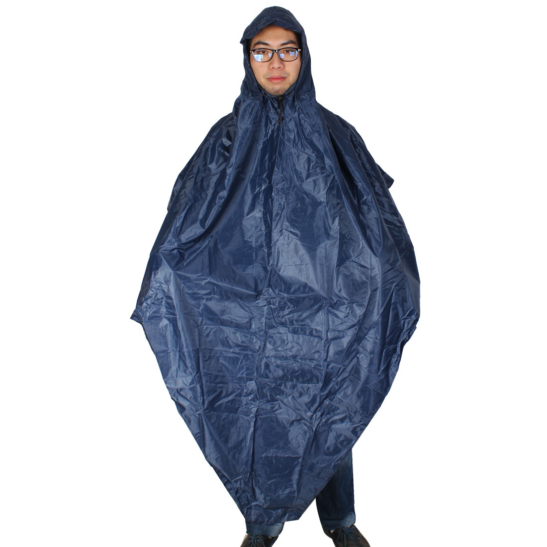 Man Woman Water Resistant Hooded Pullover Rain Dark Blue Poncho Coat