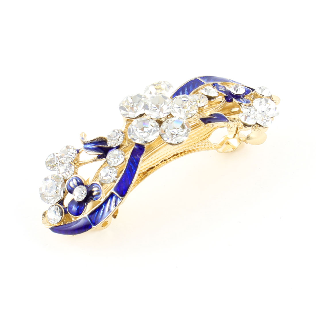 Gold Tone Metal Blue Flower Rhinestone Barrette Hairpin