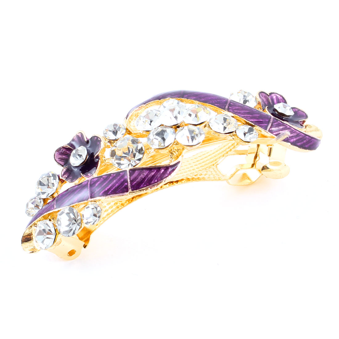 Woman Girl Purple Flower Design Shiny Rhinestone Barrette Hairpin