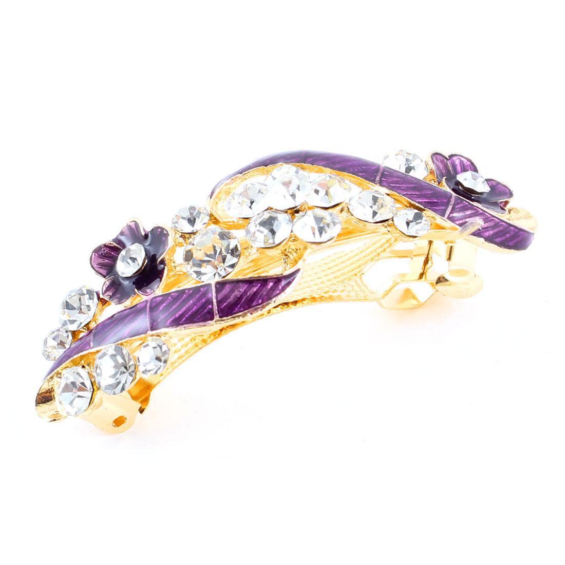 Woman Girl Purple Flower Design Shiny Rhinestone Barrette Hairpin