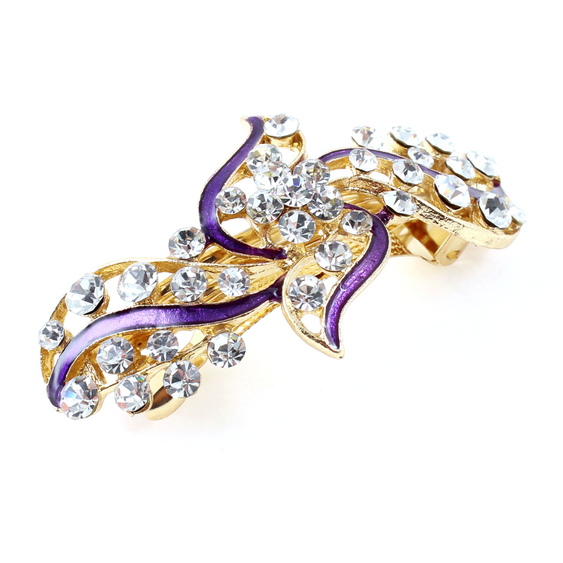 Lady Party Purple Flower Plastic Rhinestone Decor Barrette Hairpin Hairclips