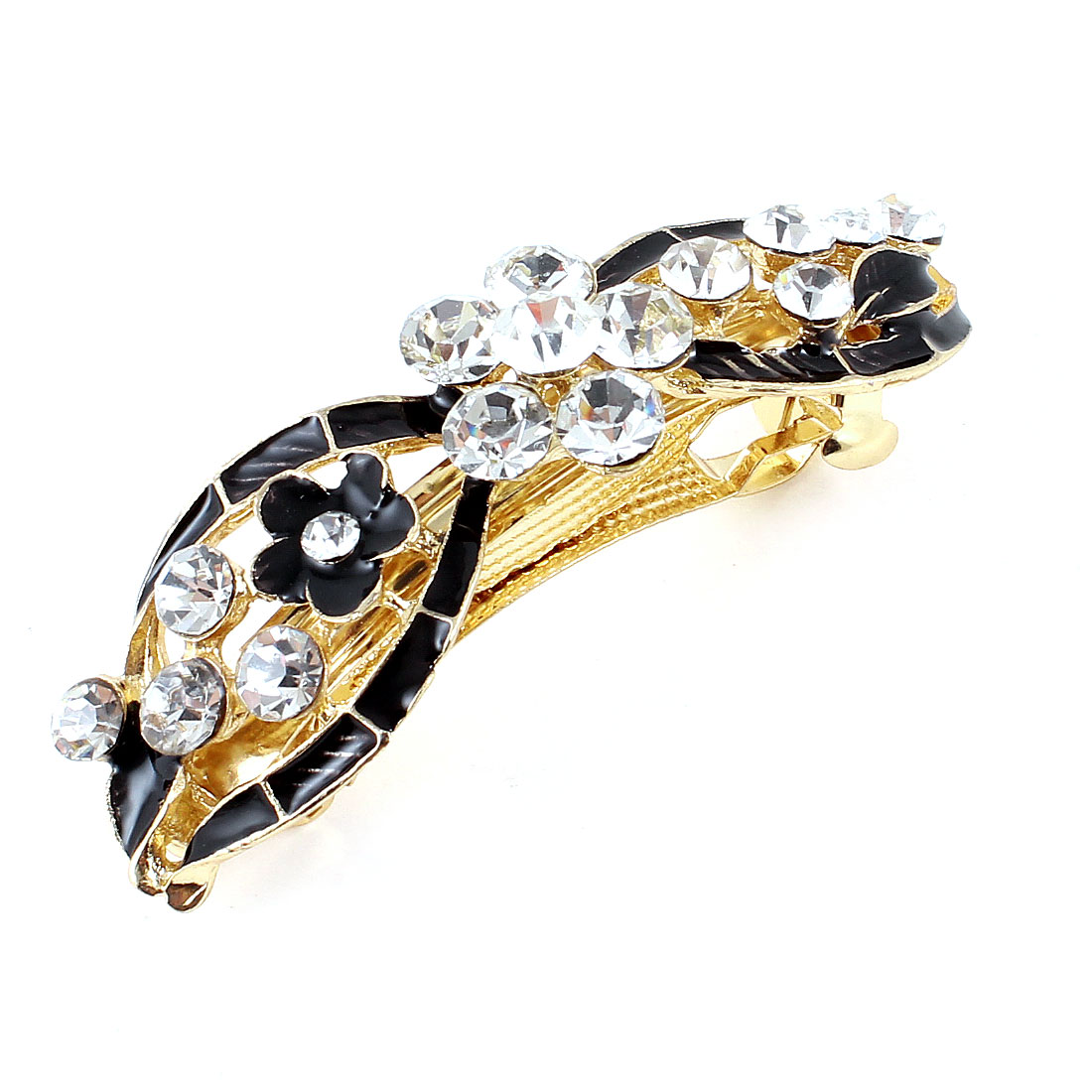 Lady Party Black Bowknot Faux Rhinestone Designed Barrette Hairpin Hairclips