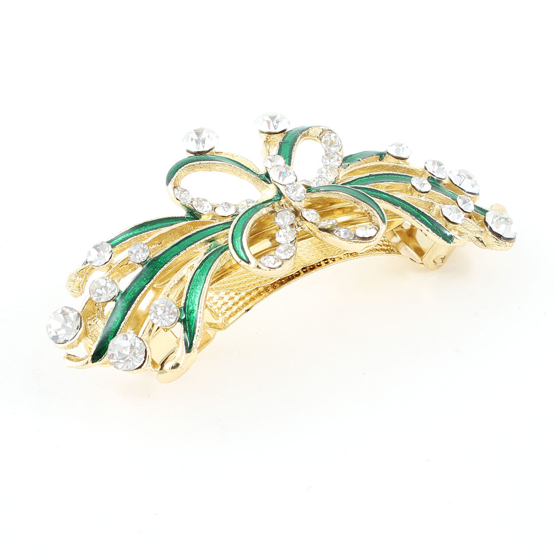 Woman Gold Tone Metal Green Butterfly Plastic Rhinestone Hair Clip Barrette
