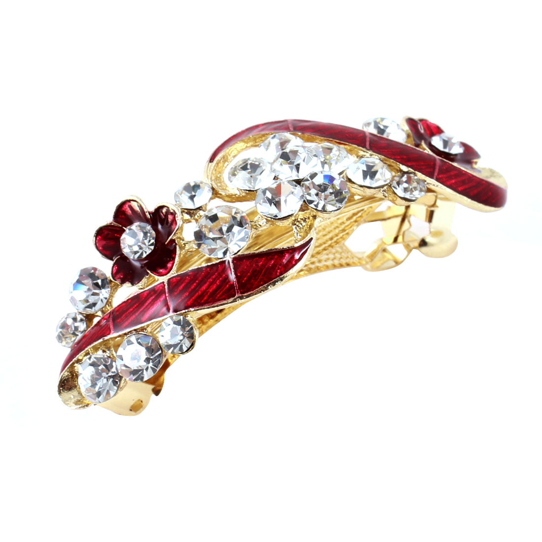 Lady Party Red Flower Plastic Rhinestone Decor Barrette French Hair Clip