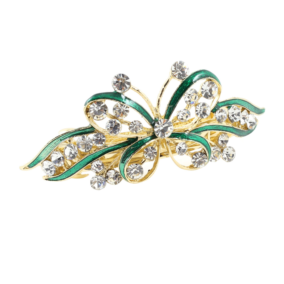 Gold Tone Green Butterfly Detail Bling Rhinestone Hair Barrette Clip