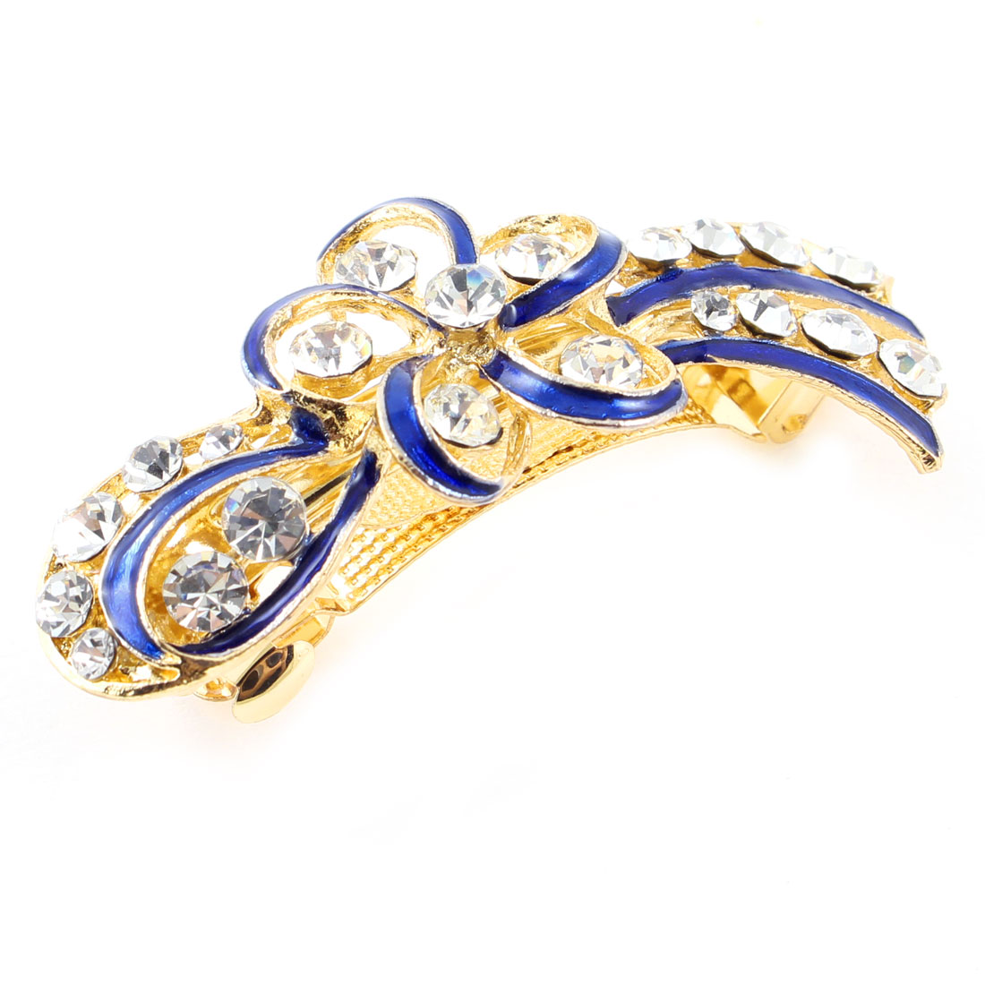 Woman Girl Gold Tone Metal Blue Flower Plastic Rhinestone French Hair Clip