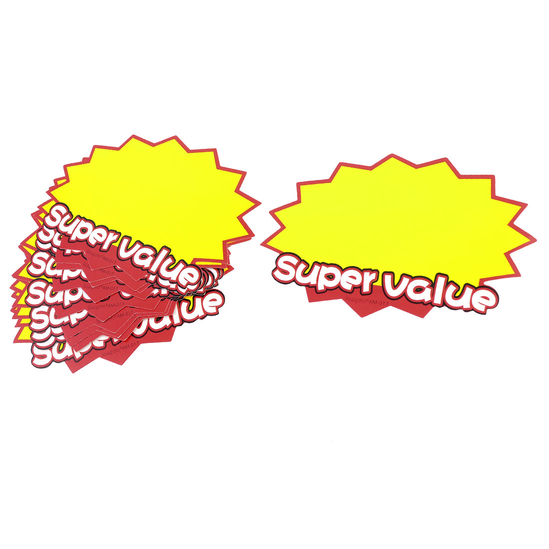10 Pcs Supermarket Supervalue Printed Advertising Pop Price Tags Yellow Red