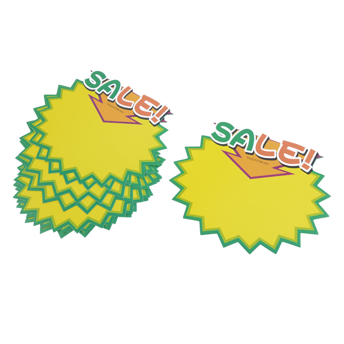 10 Pcs Sale! Printed Serrated Brim Advertising Pop Price Tags Yellow Green