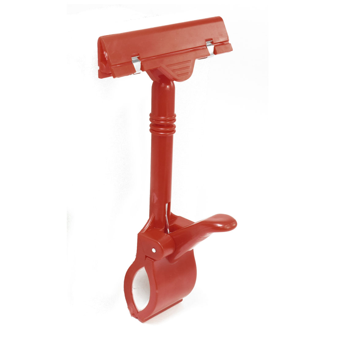 "Replacement Plastic 6.6"" Long Clip-on Extended Spring Sign Holder Red"