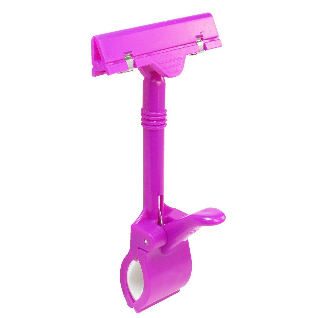 Fuchsia Plastic Dual Clamps Pop Sign Card Advertising Display Clip